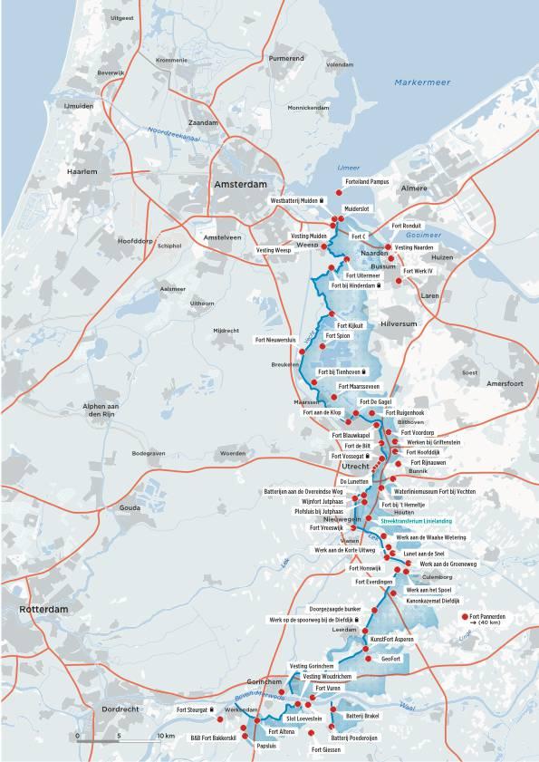Plattegrond nieuwe Hollandse waterlinie