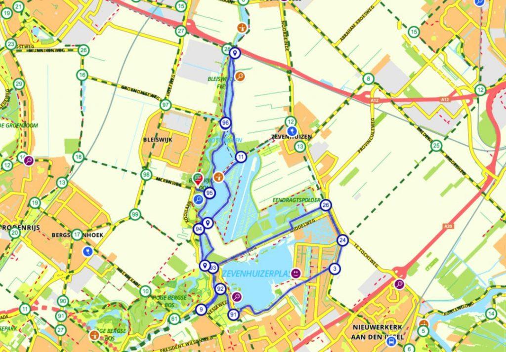 Fietsroute Rottemeren routekaart