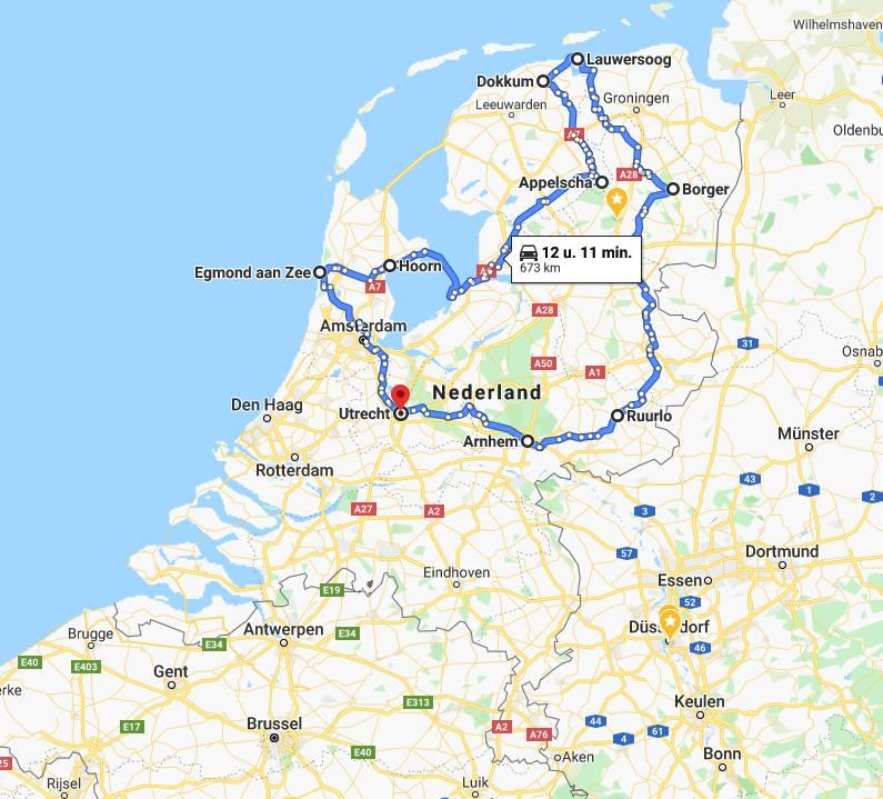 Camper route Rondje Nederland