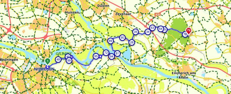 Fietsroute-Nijmegen-Zeddam